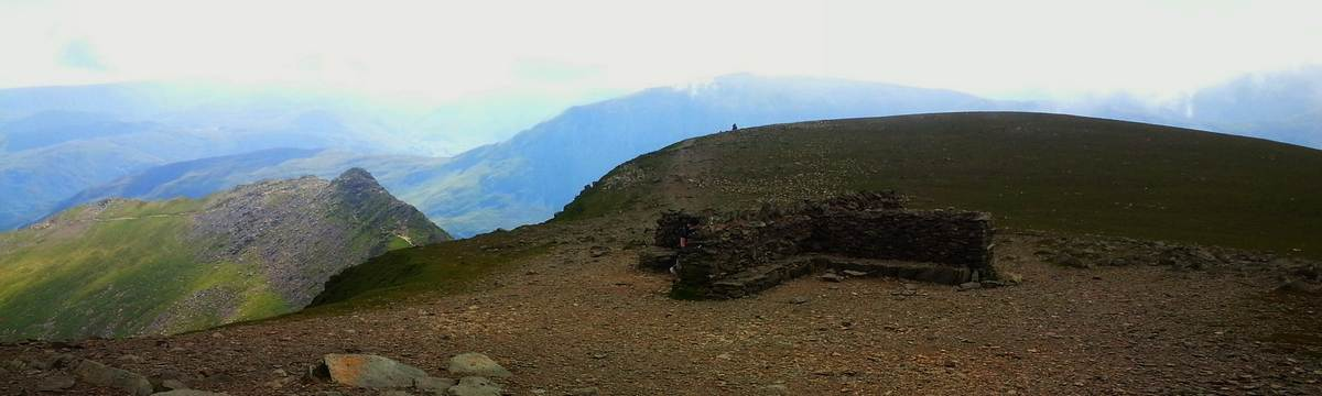 Helvellyn summit with Striding Edge beyond